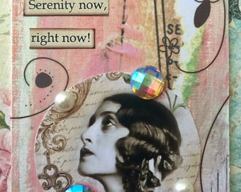Serenity Now AcEo Artist Trading Card ETSY Free Easel  Self Help Mixed Media ACEO Alteredhead On Etsy  ATC Original Handmade Design On Etsy