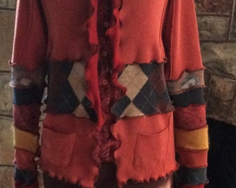 Beautiful Hand Crafted Hoodie Created From Upcycled Repurposed Recycled Sweaters