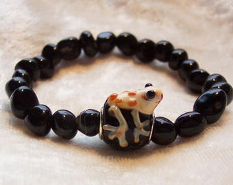 Black Bracelet, F.R.O.G Bracelet, Christain Bracelet, Fully Rely on God Bracelet, Frog  Bracelet, Black Agate Bracelet, Animal Bracelet
