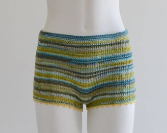 Hand knitted cotton shorts in green/blue shades