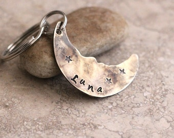 Moon pet tag / dog tag / hand stamped / not engraved / Oxidized silver / Personalized / Custom / Dog ID Tag / Lacy Sarue / Unique A008