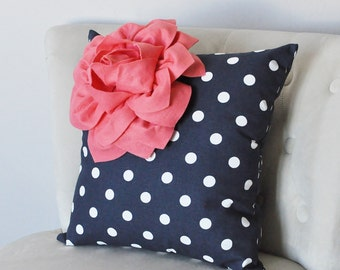 Navy and White Pillow Cover - Navy Blue Throw Pillow Cover - Navy and Coral Decor - Decorative Pillow - Navy Pillows - Coral Salmon Pillows