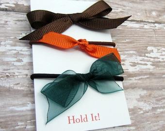 Brown, Orange, Green Ponytail Bow Elastic, Girls Ponytail Elastic, Bow Ponytail Holder, Womens Pontail Holder,  Hair Tie, Set of 3