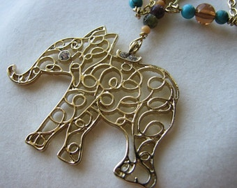 Elephant necklace gold | filigree pendant | animal | turquoise | stone | glass | rhinestone