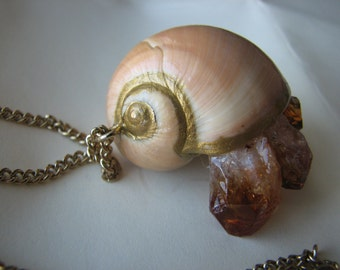 Crystal necklace gold | raw | pendant | seashell | hermit crab | nautical | citrine cluster