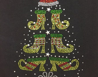 Shoe Christmas Tree Rhinestone Heat Transfer DIY