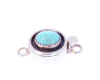 Turquoise Sterling Silver Clasp Oval Serrated 10x7mm New World Gems