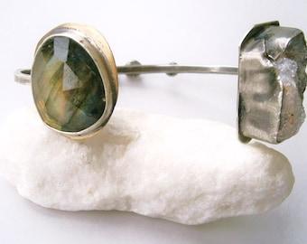 Rose Cut Labradorite Cabochon/Luna Druzy Geode Fragment Specimen Cuff Bracelet