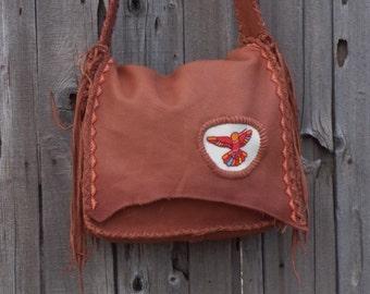 Leather messenger bag , beaded hummingbird handbag , Large computer bag , Designer bags by Thunder Rose