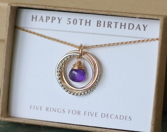 50th birthday gift for her, amethyst necklace for women, February birthstone jewelry, 5 best friend gift - Lilia