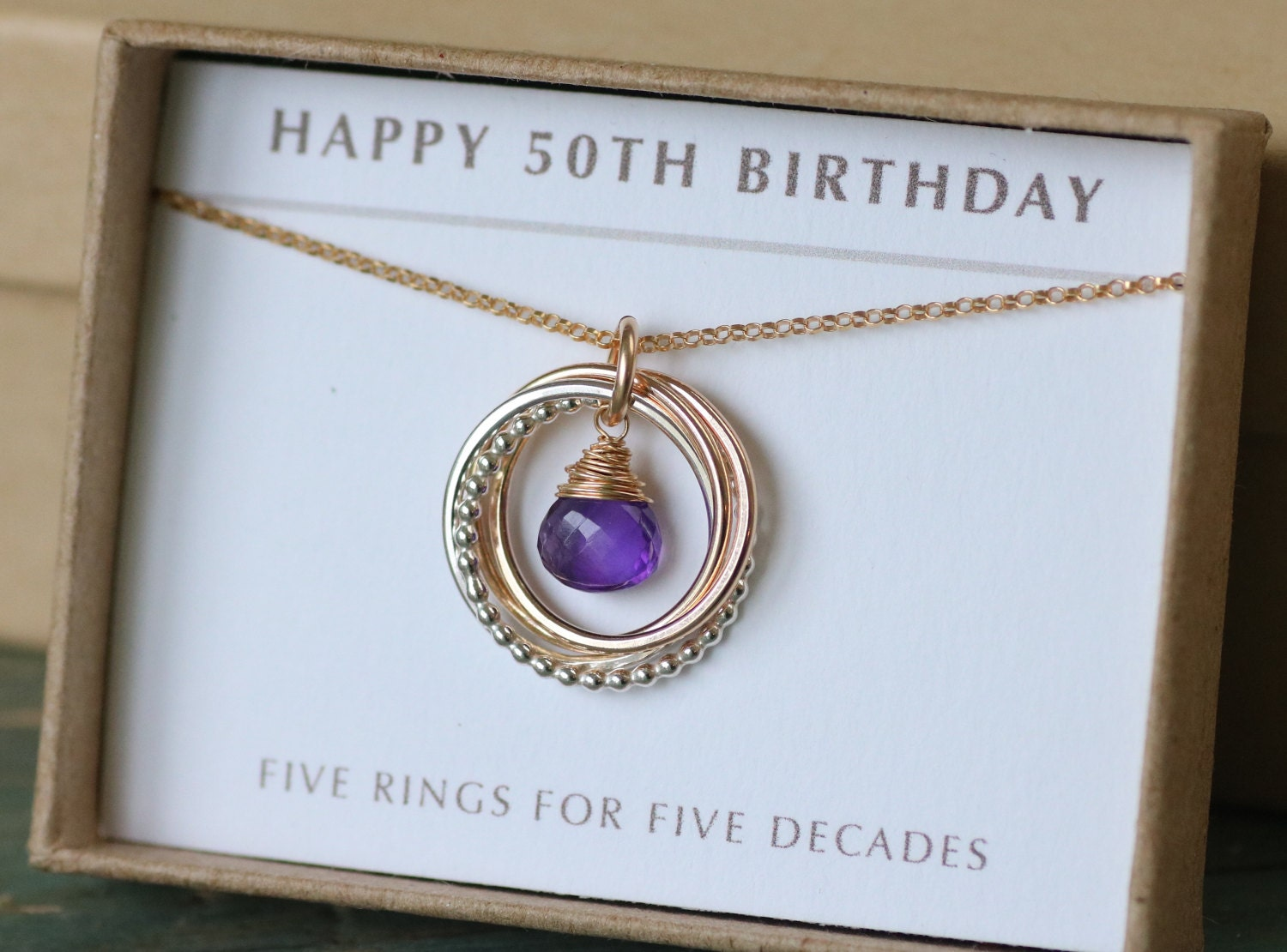 50th Birthday Gift For Her Amethyst Necklace For Women