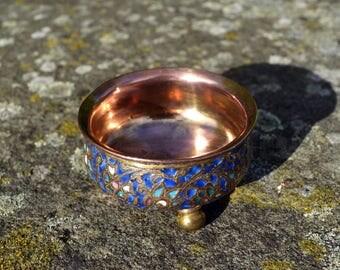 Antique Kashmir gilt wash pot/19th century Indo-Persian/Islamic enamelled copper/ Kashmir blue enamel bowl/chased copper pot gold wash