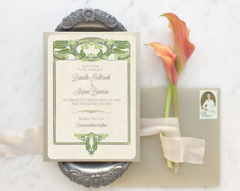 Greenery Wedding Invitation, Save the Date Card, Vintage Wedding, Floral Save the Date, Vintage Wedding Invitations - The Annabelle