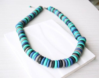 5th Anniversary Gift for Her, Modern Wood Necklace, Turquoise, Black, Grey, Blue, Multicolor, Statement Jewelry, Artsy, Funky, Adjustable