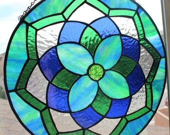 STAINED GLASS SUNCATCHER -Blue Green Decorative Glass Panel, Large Suncatcher, Mandala Decoration, Round Medallion, Home Window Decor, Glass