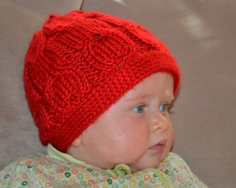 Baby Infant  6 months red hat in cable pattern.  Made with washable acrylic yarn.  Ready to ship from Colorado Photo Prop