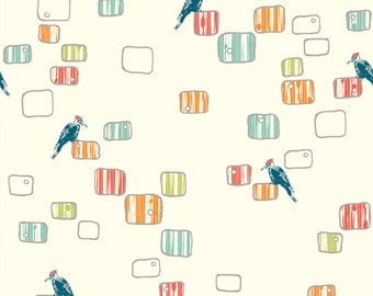 Woody Roost from Birch Organic Fabrics - Full or Half Yard Woodpeckers in a Modern Style