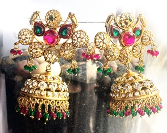 Pink Gold Victorian Earrings,jhumkas gold Chandelier Earrings,green pink gold Bollywood Indian wedding Art deco jewelry,Royal ethnic Jewelry
