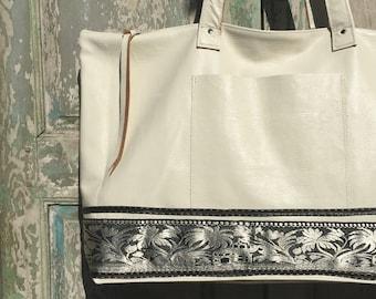 White Italian Leather Weekender Bag, Carry On, Leather Briefcase, Travel Bag, Work Bag, Diaper Bag, vintage Sari, Black White Leather
