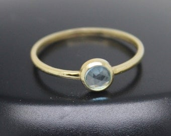 Blue Topaz Ring, Rose Cut Blue Topaz Ring, 18k Solid Gold Ring, Thin Gold Ring, Stacking Ring, Stackable Ring, December Birthstone Ring