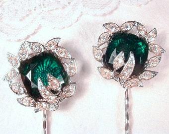 Pair Art Deco Emerald Green Hair Pins, Pave Rhinestone Bridal Hair Clips Silver Vintage 1920s Hair Jewelry Set 2 Gatsby Wedding Bobby Pins
