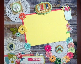 HELLO FRIEND Premade Memory Album Page (Gallery Wood Box Frame Sold Separately)