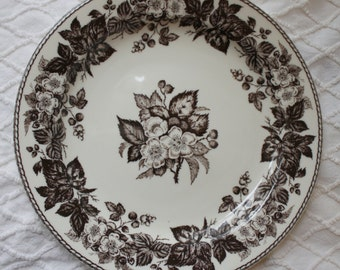 "9.5""  Two's Company Brown Transferware Wall Plate"