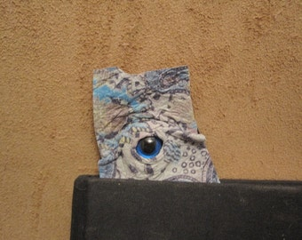Grichels leather bookmark - blue paisley print with custom cobalt blue eye