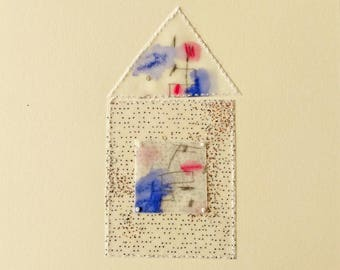 Mixed Media Collage with Funky House on Archival Paper / Home Sanctuary / Beeswaxed Drawing / Essence of Home