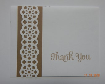 4 Handmade Thank You Cards in Brown/White
