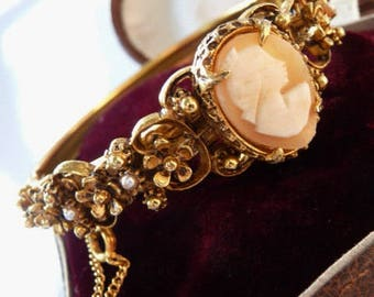 Florenza Victorian genuine cameo bangle bracelet | ornate gold tone Baroque Renaissance revival | Della Robbia vintage jewelry