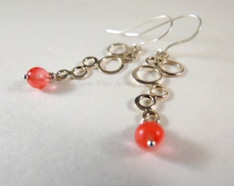 Earrings: Sterling Silver Bubbles and Cherry Quartz by Sarah Wiley Jewelry 160015BQ