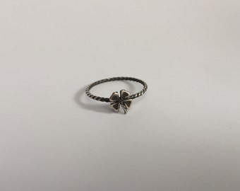 Four Leaf Clover Stacking Ring. Sterling silver stacker jewelry mix and match. Lucky charms clover jewelry.