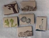 Set of 6 Letterpressed Desert Landscapes Cards