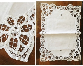 Vintage Lace Placemat Table Setting Cutwork White Embroidered Tea Party