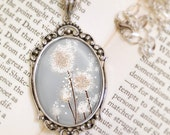Christmas Sale Dandelion Wedding Necklace (silver) - Silver Pendant - Perennial Moment (silver) - Wearable Art with Silver Chain