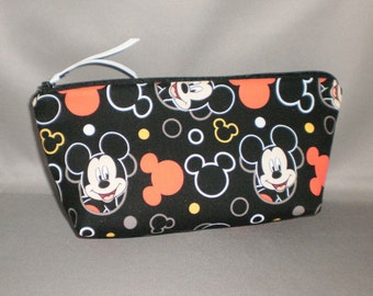 Cosmetic Bag - Makeup Bag - Large Zipper Pouch - Mickey Mouse