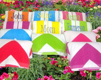 3 Bridesmaids' Gifts Cabana Beach Towels Hot Pink, Turquoise, Orange, Lime, and Yellow Striped