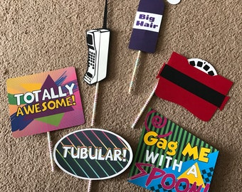 Totally rad 80's themed photo props  set of 6
