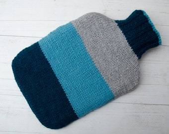 Knitted Hot water bottle Cover Colourblock turquoise and grey