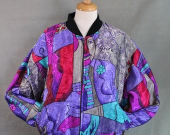 Vintage 80s Unisex Picasso Satin Jacket, Rare Unique Bomber Jacket, Purple, Modern Art, Abstract Art, Track Jacket, Size Large