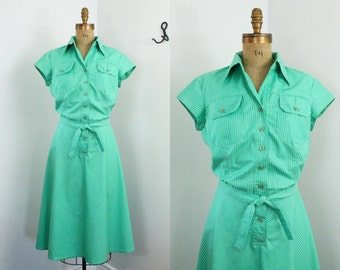 70s dress - striped shirt dress - Foxy Lady dress - vintage 70s day dress - green - large xl - 70s clothing