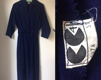 Vintage Rare 1940s WWII CC41 Jaeger Wool Dress / Forties Controlled Commodity Collared Navy Dress - Extra Small