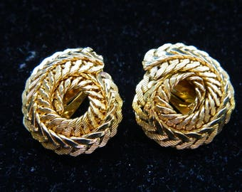 Napier Gold Tone Earrings - Mid Century Hollywood Regency