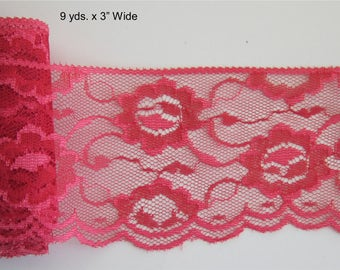 """Red Flowered Scalloped Lace, 3""""  Wide , Apparel-Sachets-Costumes-Mason Jars, Doll Clothes, Bridal Accessories Craft Projects, 4th of July"""
