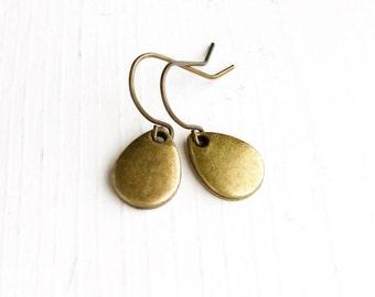 Raindrop Earrings / Minimalist Little Rain Drops Pierced Dangly Geometric Style Small Everyday Shiny Boho Tear Teardrop Antique Brass Bronze