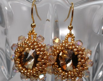 Antique Gold Crystal Earrings