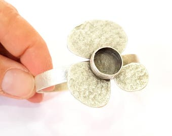 Bangle Blanks Bracelet Blanks Cuff Blanks Adjustable Antique Silver Plated Brass ( 12mm Blanks ) G7612