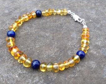 Baltic Amber and Lapis Lazuli bracelet - reduce pain & inflammation - grounding