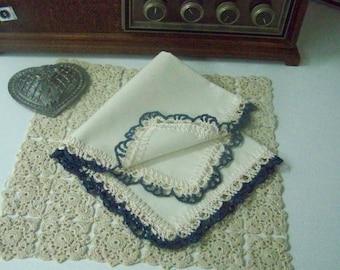 Ladies Lace Handkerchief, Hanky, Hankie, Hand Crochet, Lacy, Ecru, Off white, Personalized, Monogrammed, Embroidered, Dark Blue, Navy